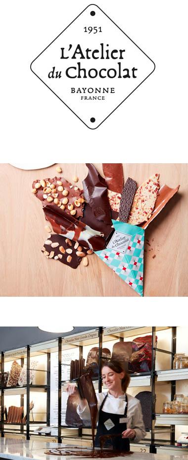 Atelier du Chocolat : logo, cornet de bouquet de chocolat et démonstration en boutique
