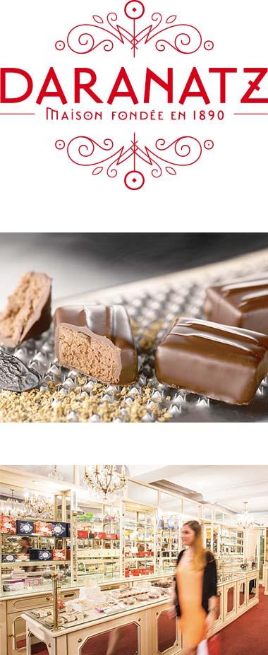 Daranatz : logo, bonbon de chocolat et boutique