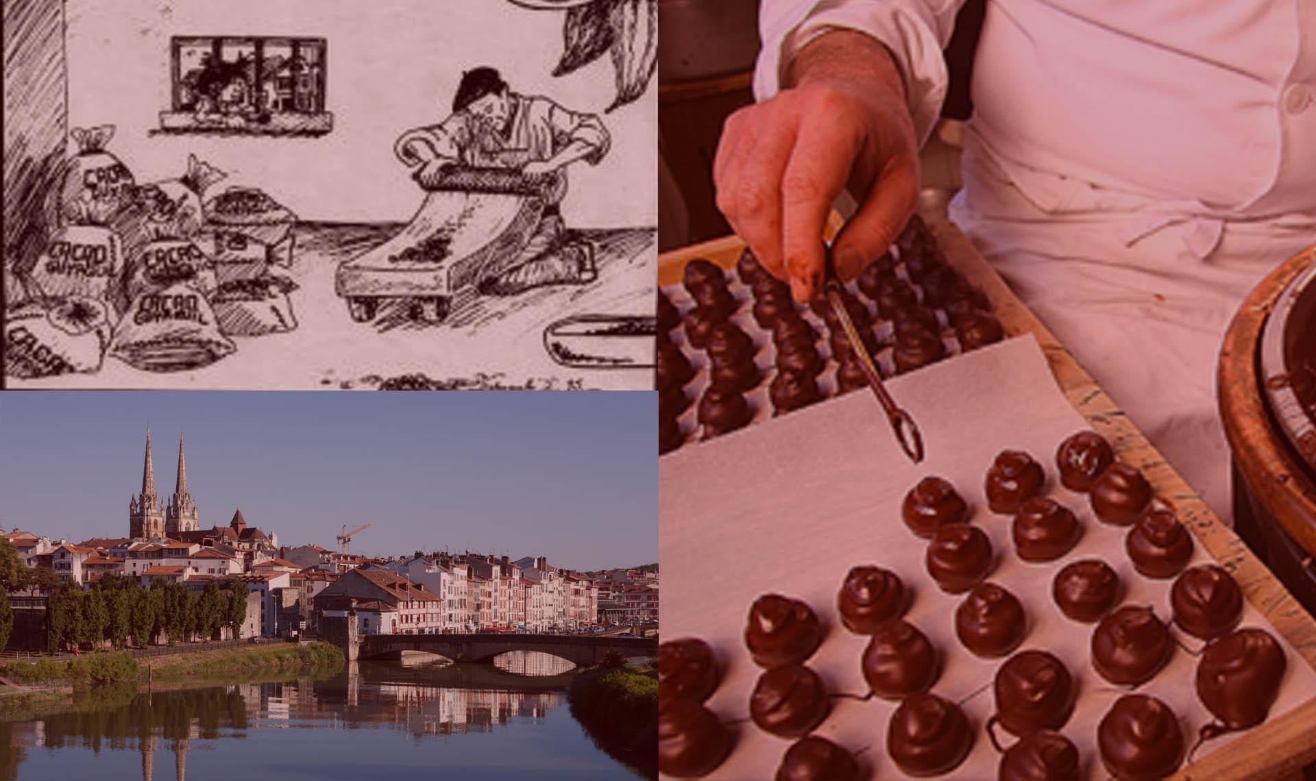Image composée d'un métate, d'une vue de la ville de Bayonne et du travail d'un artisan chocolatier