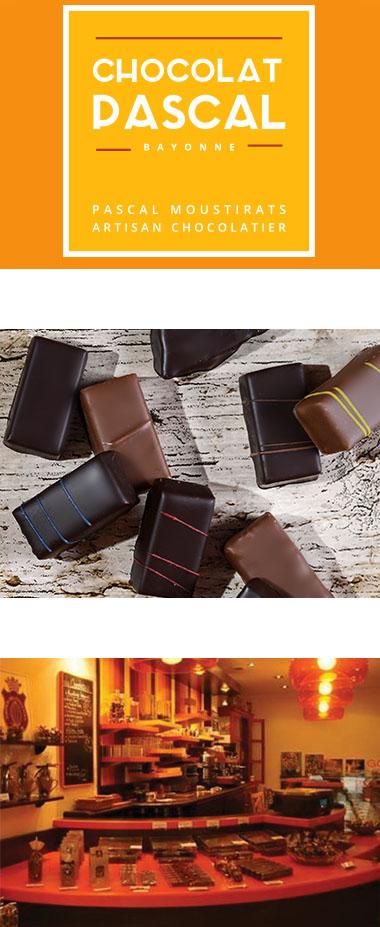Logo de Chocolat Pascal, bonbon de chocolat et intérieur boutique